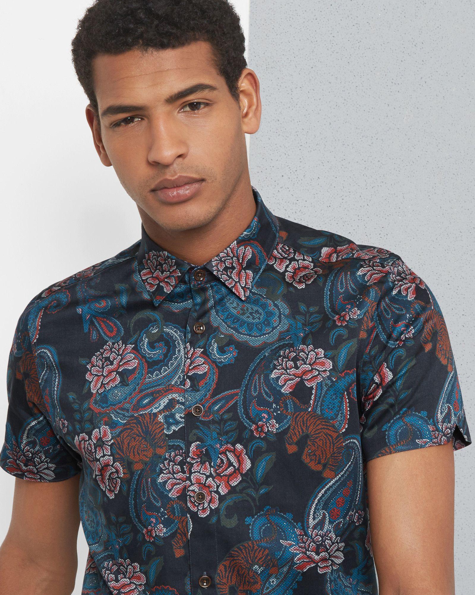 5d37004f Tiger paisley print cotton shirt - Navy | Shirts | Ted Baker UK ...