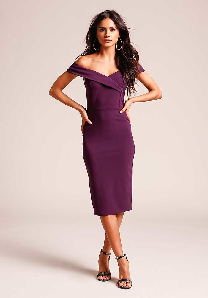 Eggplant Off Shoulder Bodycon Dress - New