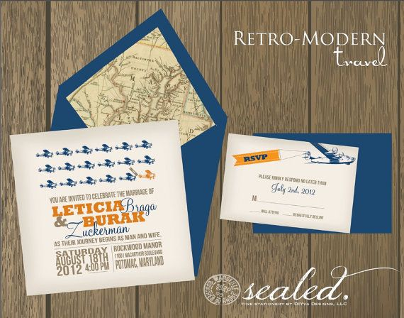 LOVE this retro-modern travel themed invitation set by Sealed.