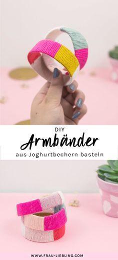 DIY Armbänder aus Joghurtbechern selber machen #recyclingbasteln