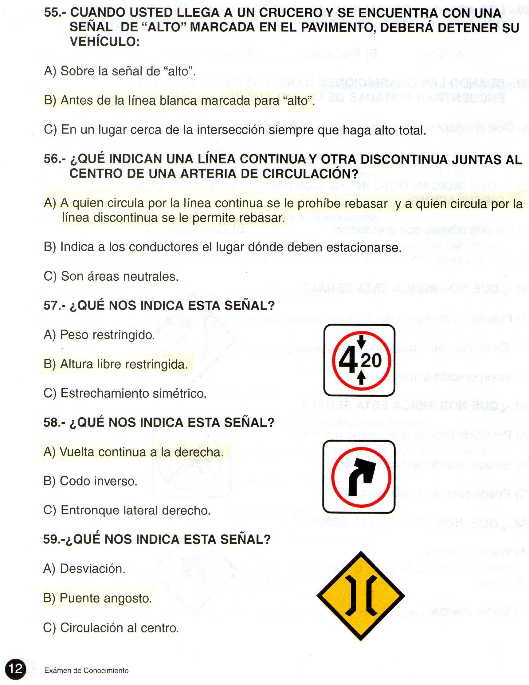 Examen de transito colombia