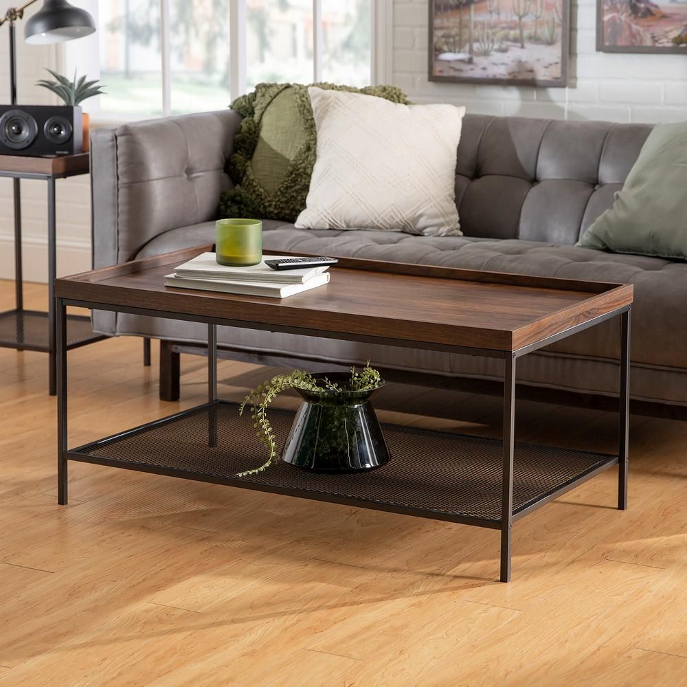 Walker Edison Furniture Company 42 In Dark Walnut Large Rectangle Wood Coffee Table With Lower Mesh Shelf Hdf42emictdw The Home Depot Rectangle Coffee Table Wood Modern Wood Coffee Table Coffee Table Wood [ 1000 x 1000 Pixel ]