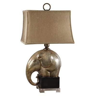 Global Direct 31 In Antiqued Champagne Elephant Head Table Lamp 26739 1 The Home Depot Table Lamp Lamp Elephant Table Lamp