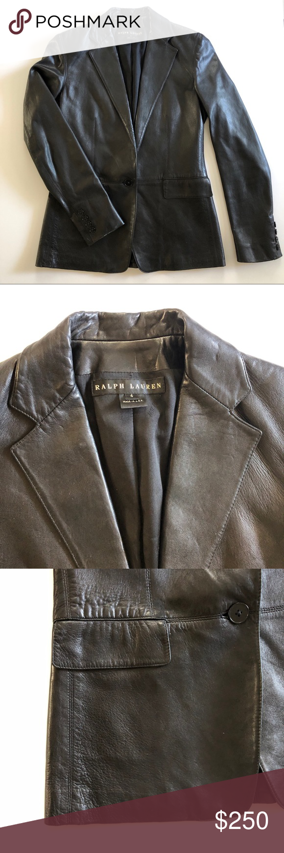Black Ralph Lauren Lambskin Leather Blazer Jacket Lambskin Leather Blazer Leather Blazer Jacket Leather Blazer [ 1740 x 580 Pixel ]