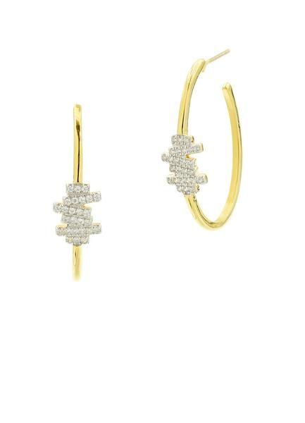 Freida Rothman Radiance Delicate Hoop Earrings w/ Cubic Zirconia n1aVSjyP