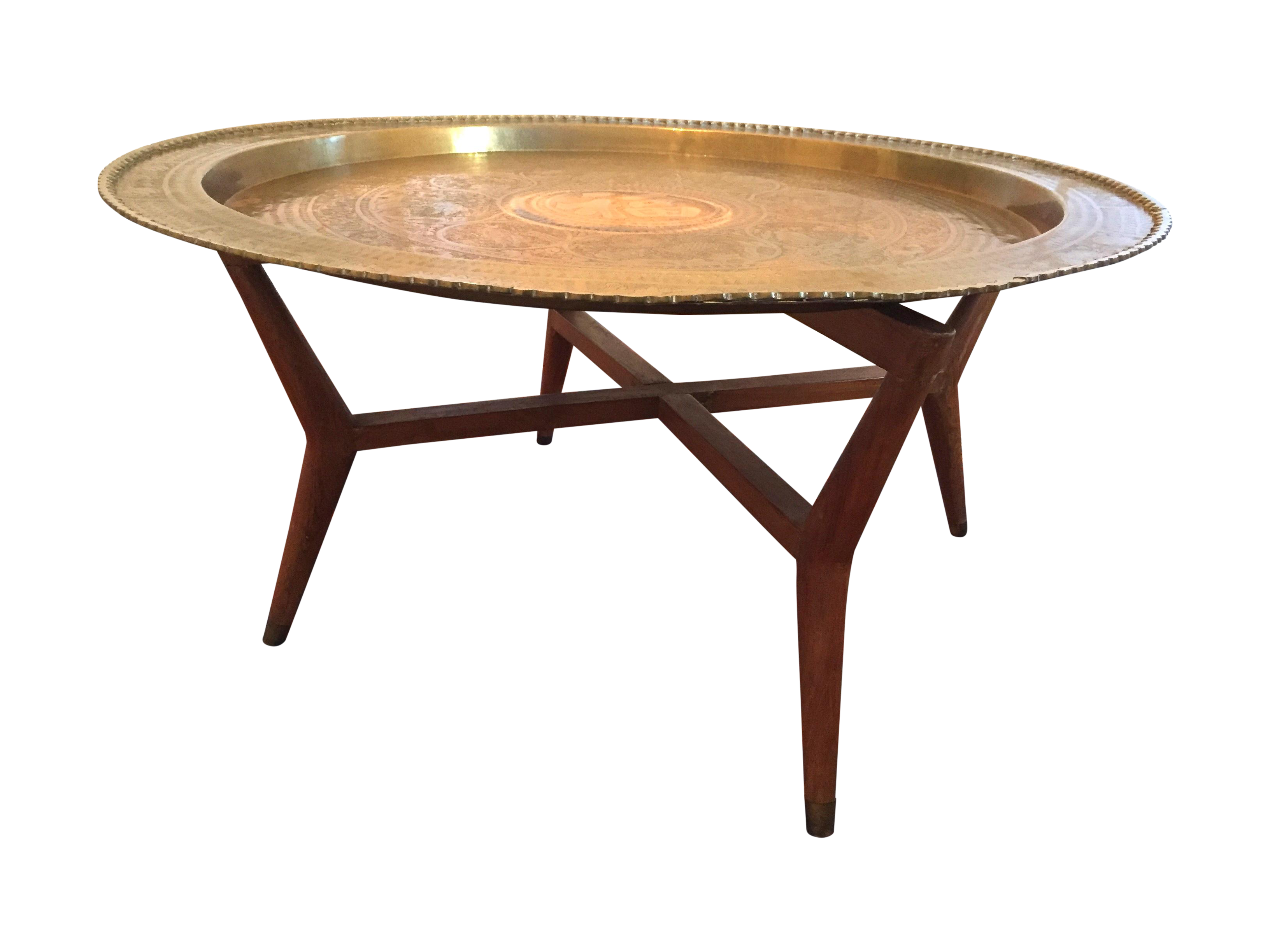 Large Mcm Oriental Brass Tray Table On Chairish Com Brass Tray