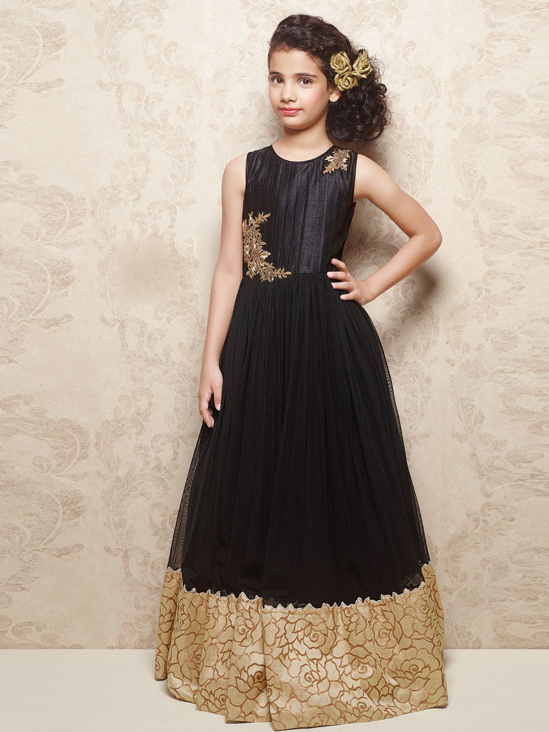 G exclusive black raw silk and net party wear girls gown