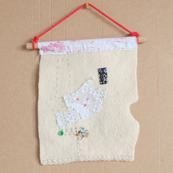 All that's left - small textile collage wall hanging by Half of Ten on Etsy