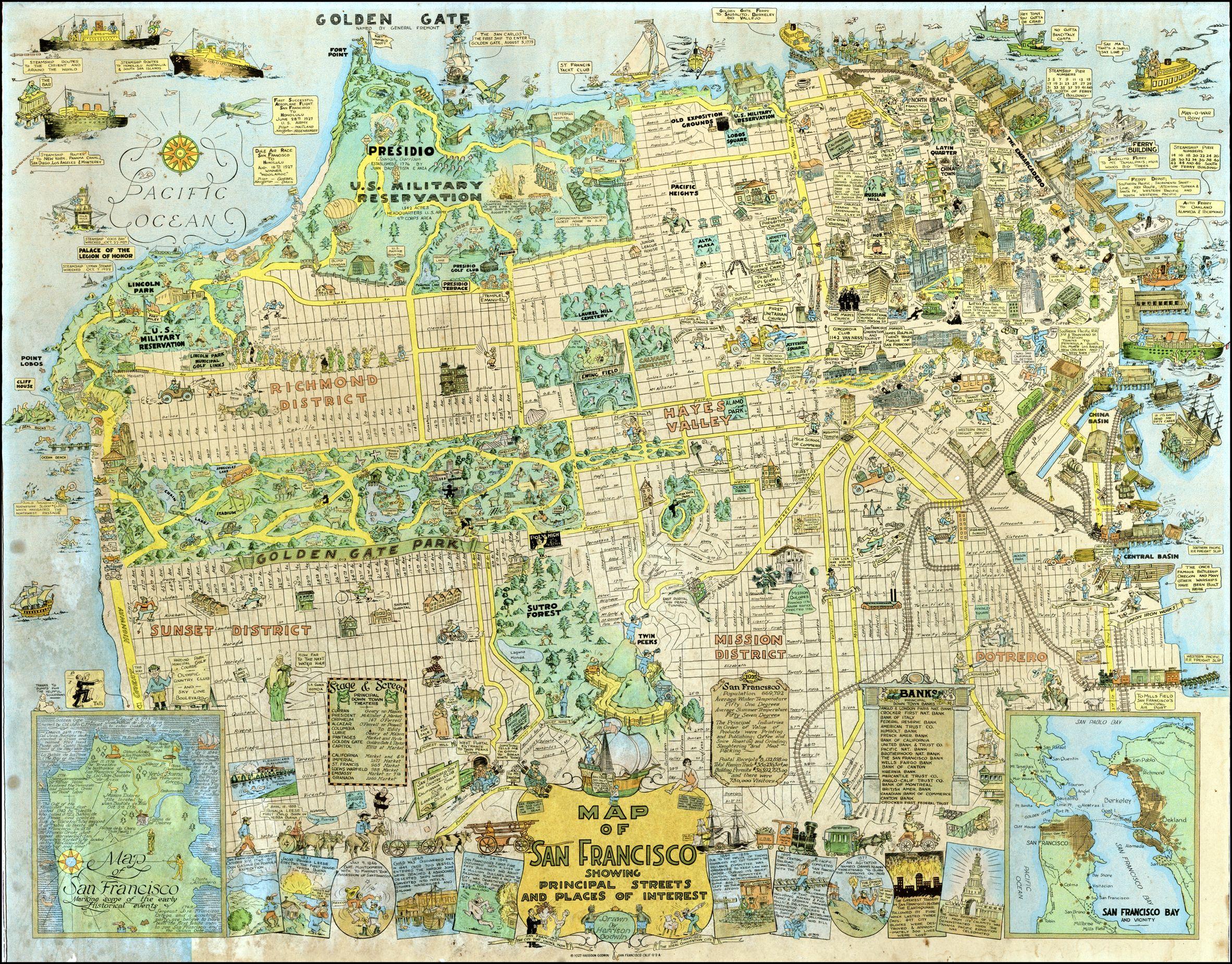 1927 tourist map of San Francisco maps Pinterest Tourist map