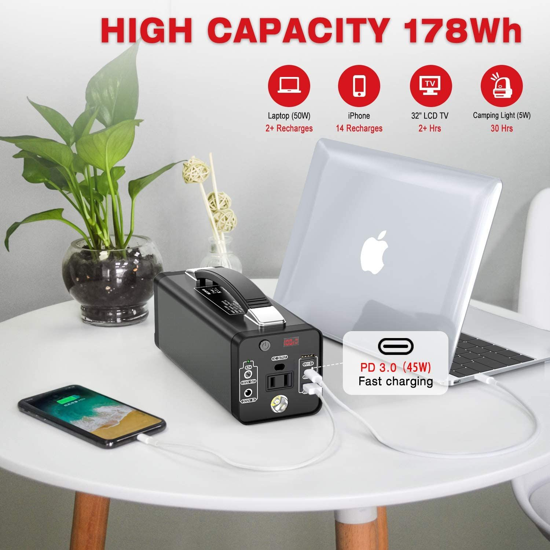 Nexpow Portable 48000mah Solar Generator Emergency Backup With 110v 120w Peak 150w Ac Inverter In 2020 Portable Power Source Portable Power Solar Generator