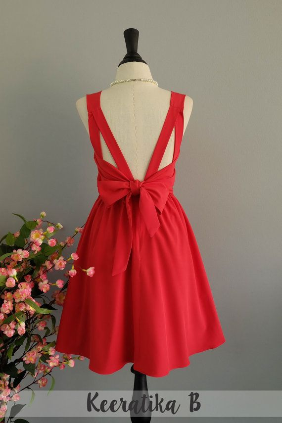 Red Dress Red Bridesmaid dress Wedding Prom dress Cocktail Party dress Evening dress Backless bow dress