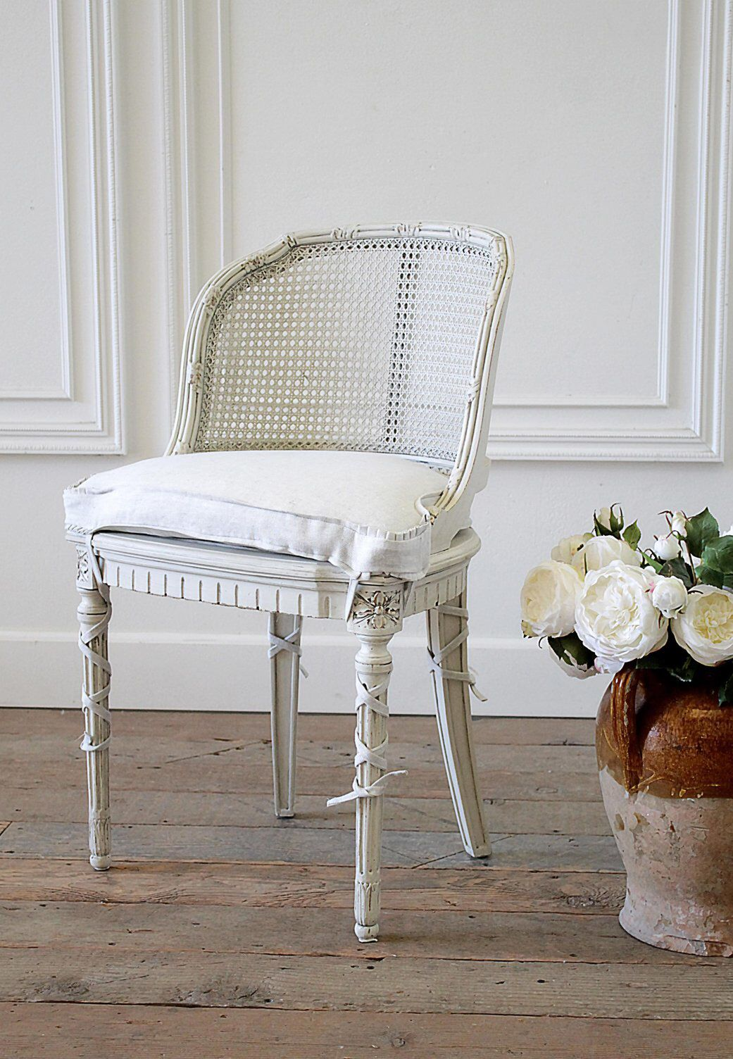 French Country Cane Back Vanity Chair On Chairish Com Chair Vanity Chair Corner Chair