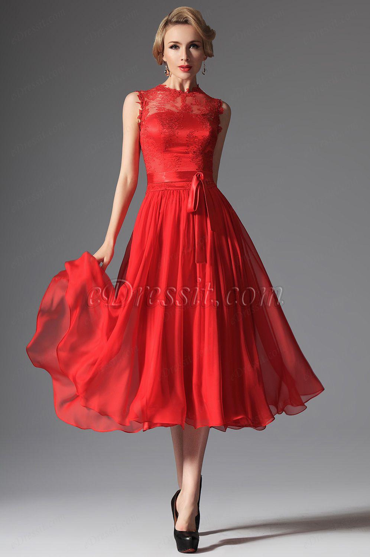 eDressit 2014 New Red High Collar Overlace Mid-calf Cocktail Dress ...