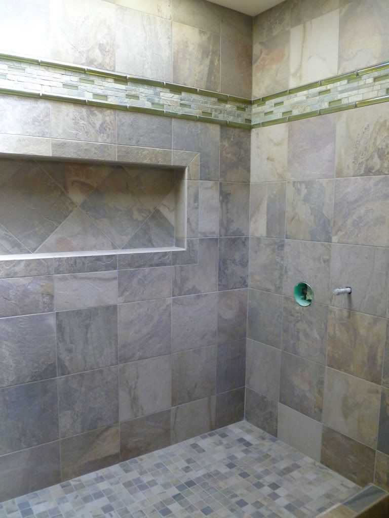 Slate bathroom shower designs - Bathroom Engaging Small Bathroom Decoration Using Inwall Bathroom Rack Along With Doorless Shower And Limestone Tile Shower Wall Great Ideas For Bathroom