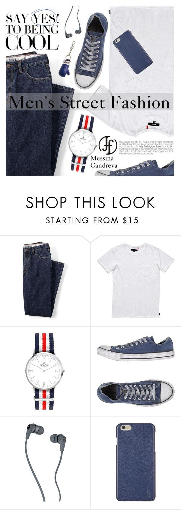 """Men's Street Fashion"" by pokadoll ❤ liked on Polyvore featuring Lands' End, Banks, Converse, Skullcandy, Polo Ralph Lauren, Alexander McQueen, men's fashion, menswear and francoflorenzi"