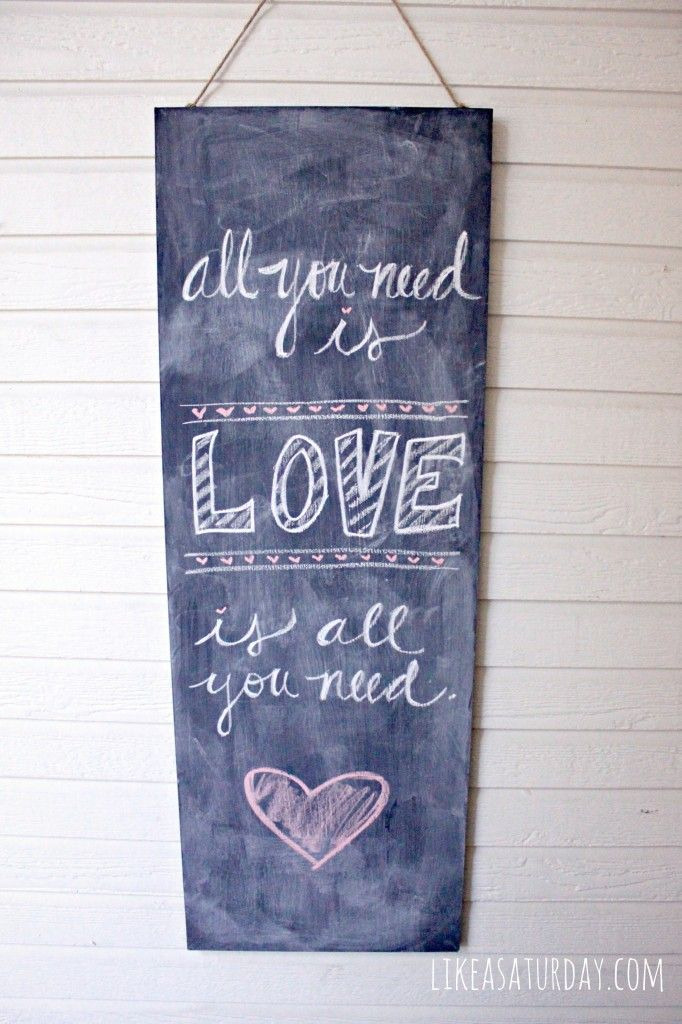 Valentine's Day Porch - All You Need is Love chalkboard art