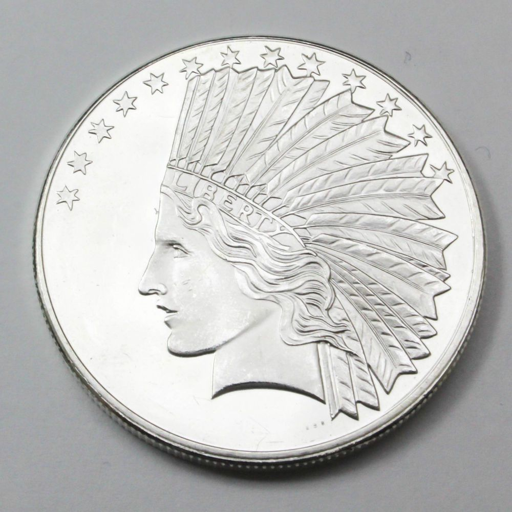 Indian Head 1 One Troy Ounce 999 Fine Silver Round Uncirculated Silver Bullion Bullion Silver