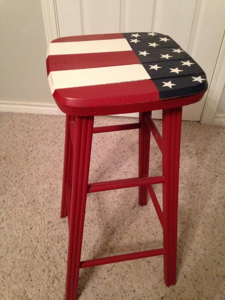 Paint A Plain Stool With The Stars And Stripes Home On