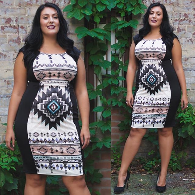 Aztec Print Pencil Dress.