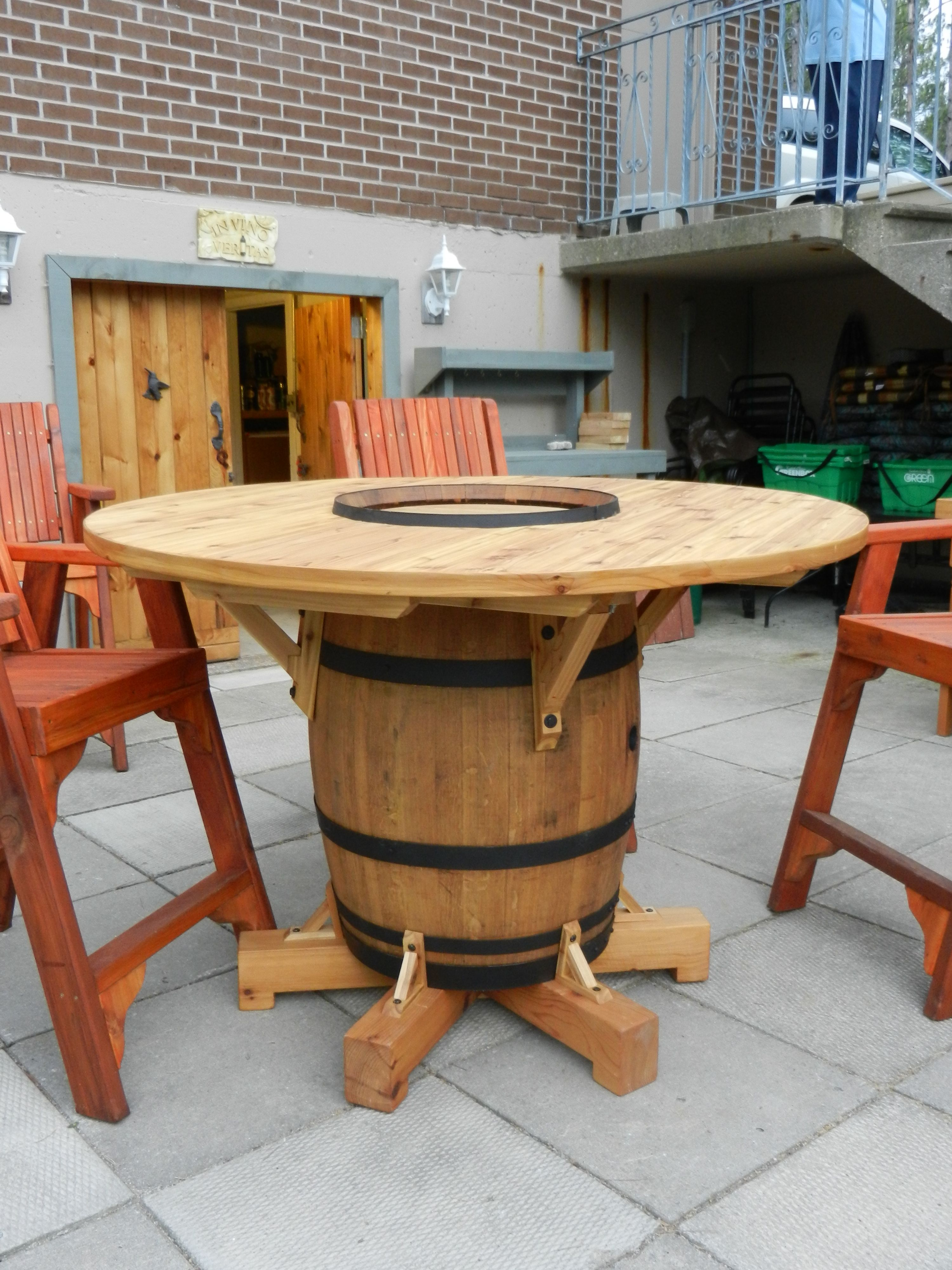 Wine Barrel Table My Husband Just Finished Making