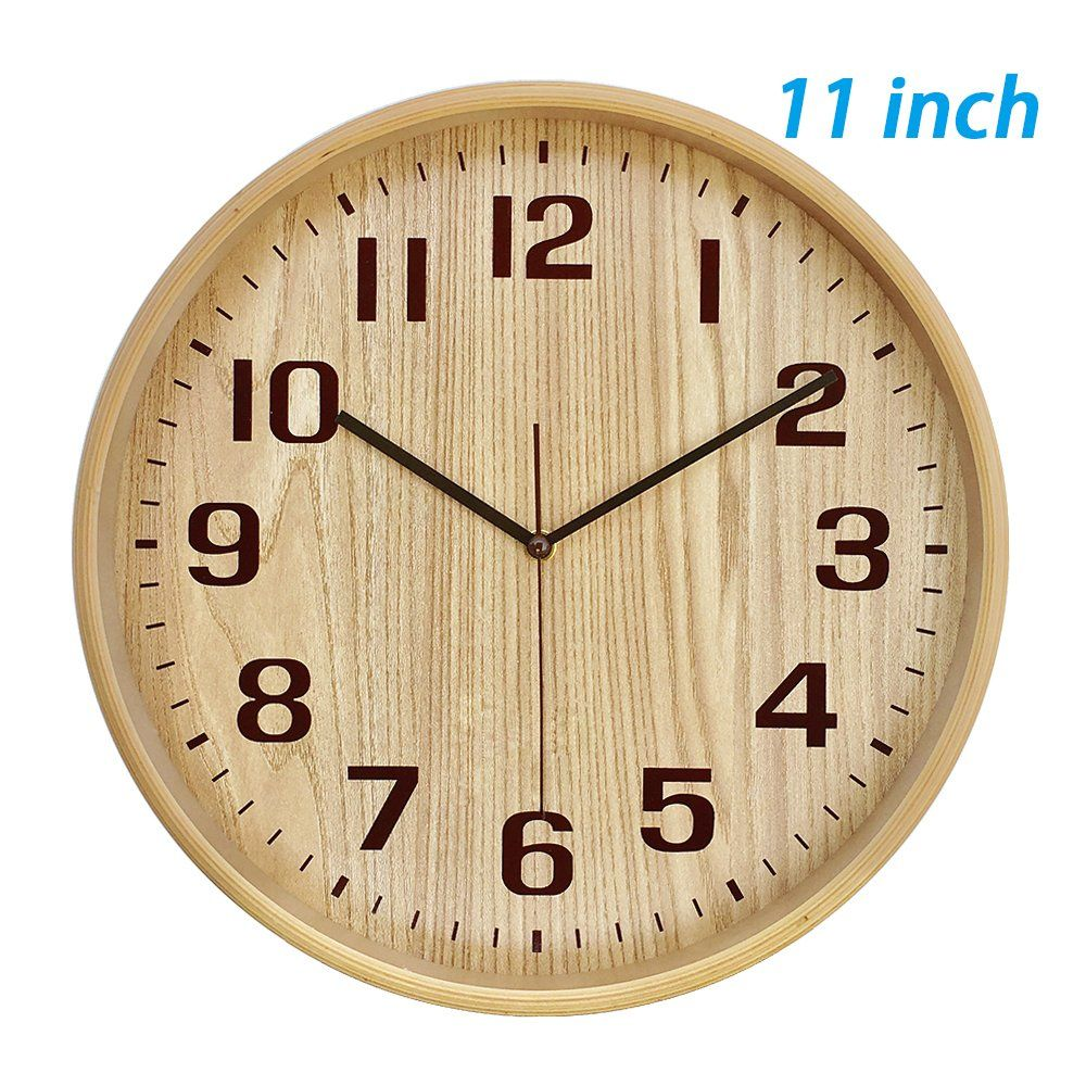 Kameishi Classic Handmade Silent Wall Clock 11 Inches Quiet Wood Wall Clocks Battery Operated Simple Sweep No The Ticktock Dec In 2020 Wood Wall Clock Wall Clock Clock