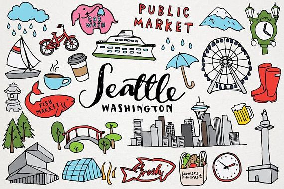 Seattle Clipart Seattle Washington Clip Art Monuments Etsy Clip Art Seattle How To Draw Hands