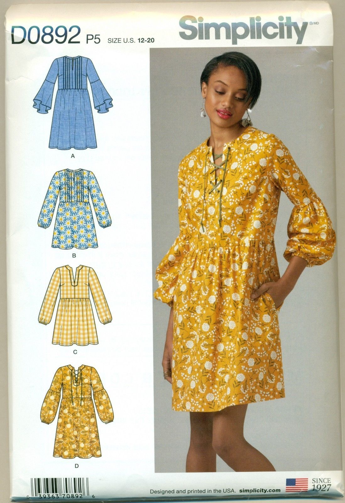 36a764daf9 Simplicity D0892 Misses  Dress or Tunic Size P5 12 - 20 New 2018 Uncut  Pattern