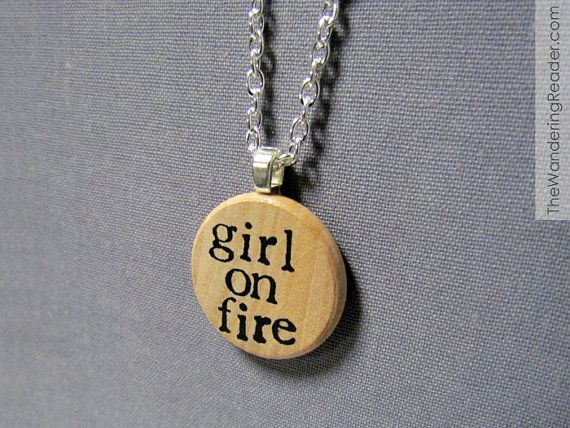 Girl On Fire Hunger Games Inspired Katniss Hand Stamped Pendant Necklace - Hunger Games Jewelry
