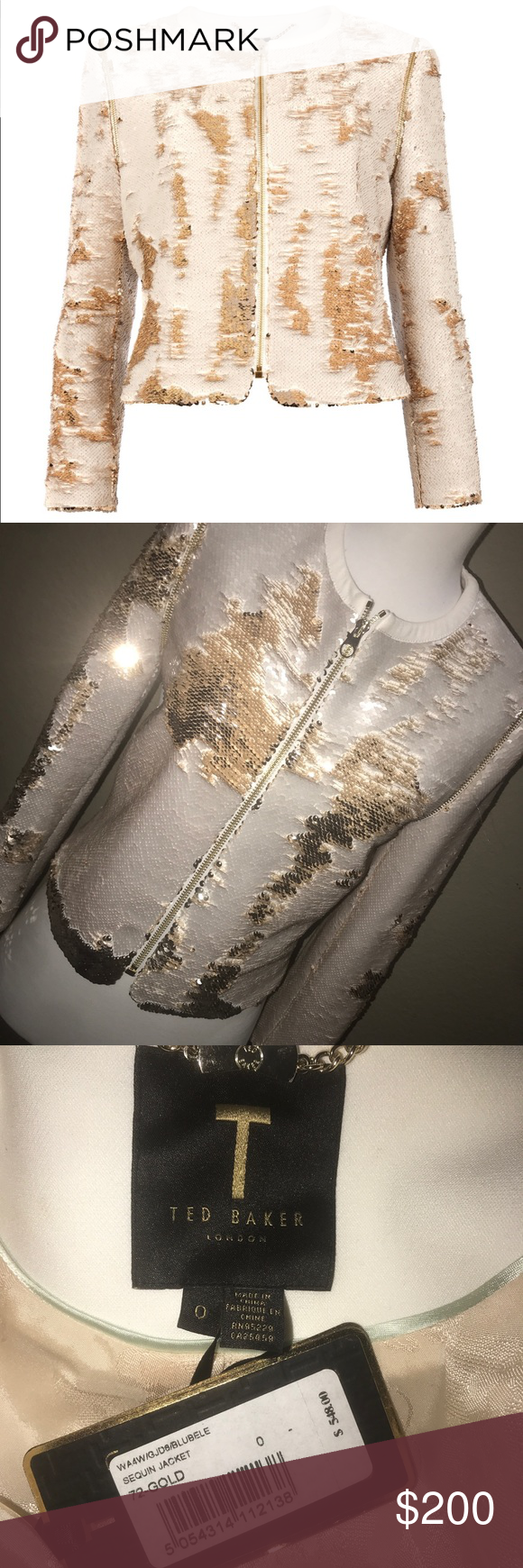 fdc4d00db785bb TED Baker BLUBELE Sequin Gold Jacket Size 0 Exquisite and unique