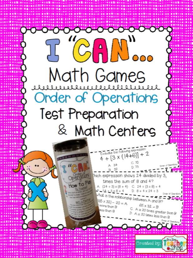 """Really makes Test Prep FUN! """"I CAN"""" Order of Operations Math Game.  Perfect for Math Centers, Independent, or Whole Group Test Prep!!!  Aligned with 5th Grade Common Core!"""