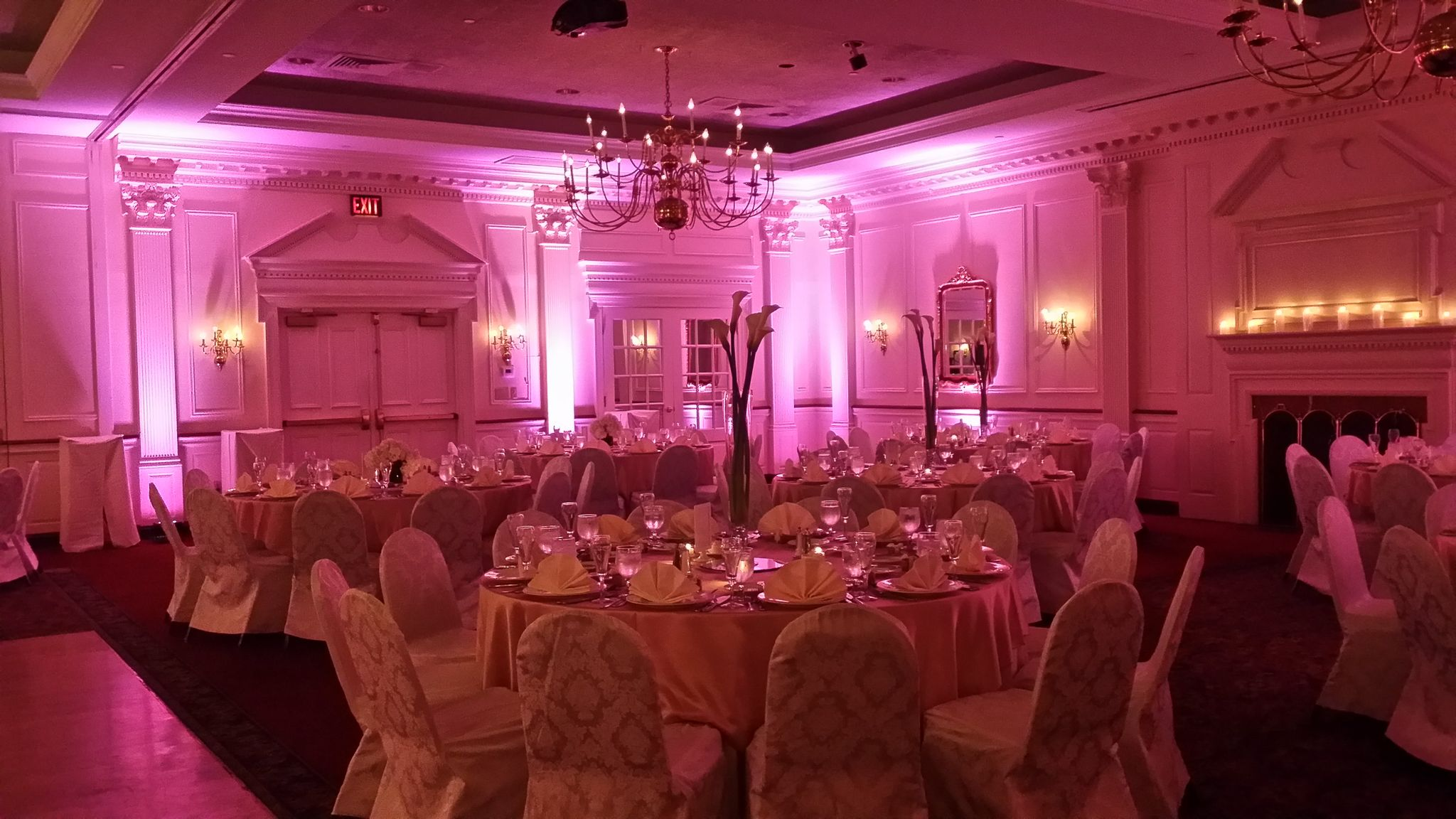 Purple Lavender Pink Wedding Uplighting by Soundwave DJs