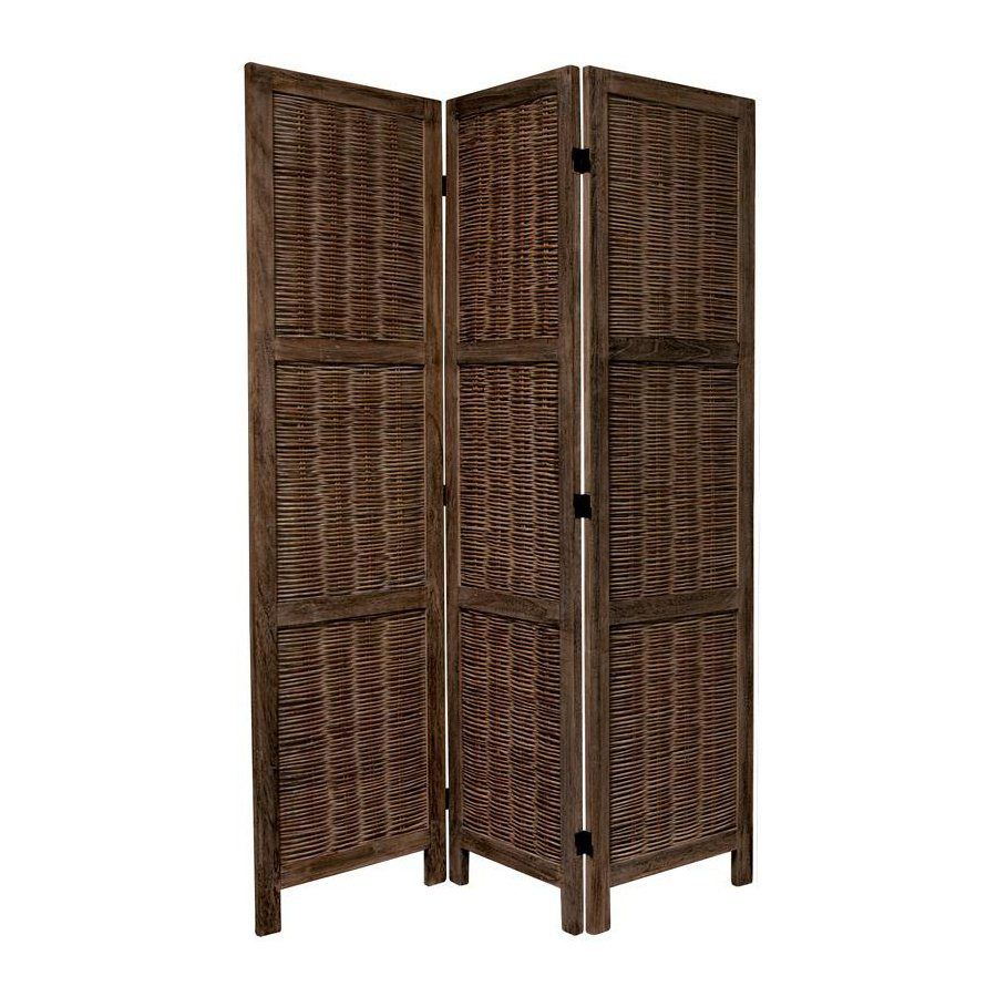 Shop Oriental Furniture 3 Panel Burnt Brown Wood Folding Indoor