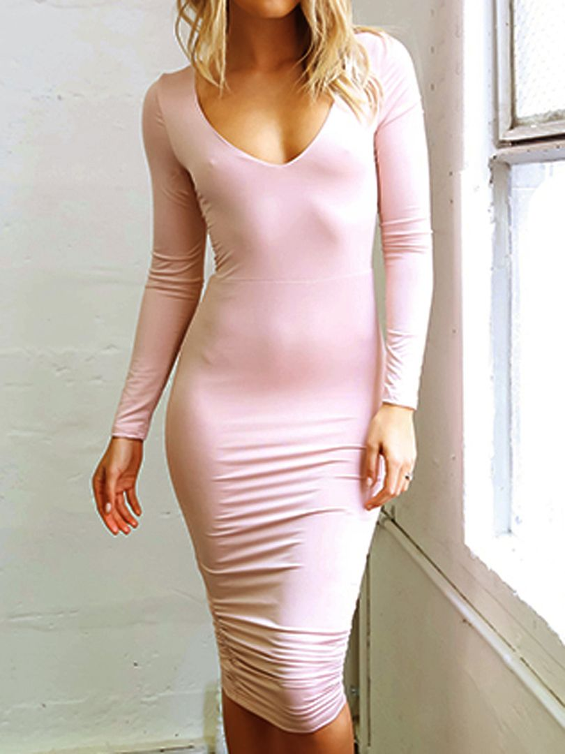 Pink V Neck Strappy Back Long Sleeve Bodycon Dress | casual | Pinterest
