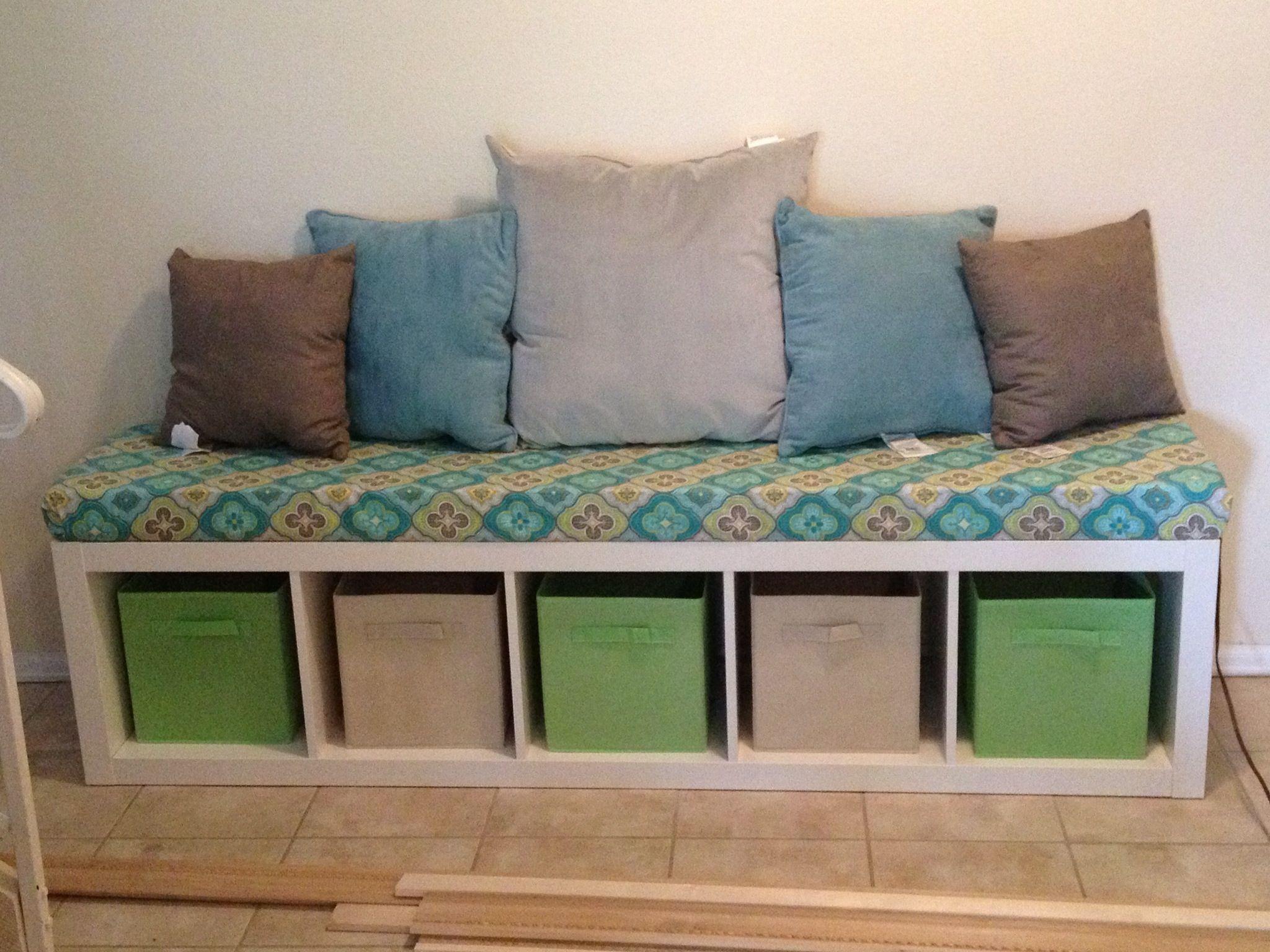 ikea expedit bookshelf bench for reading area nook in basement