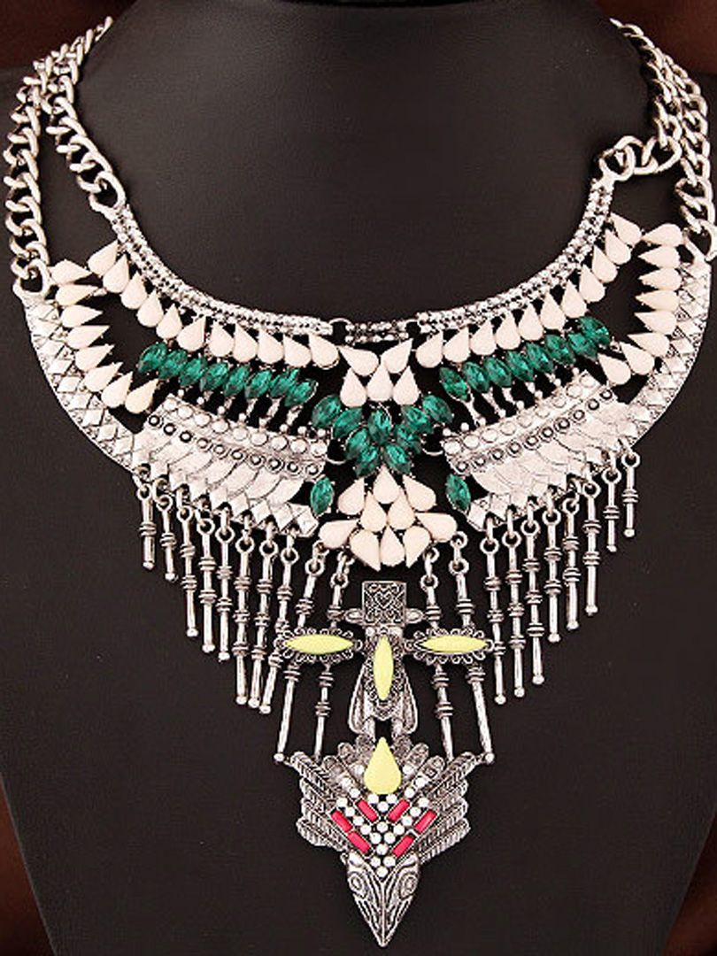 Silver Stone Embellishment Plated Tassel Statement Necklace