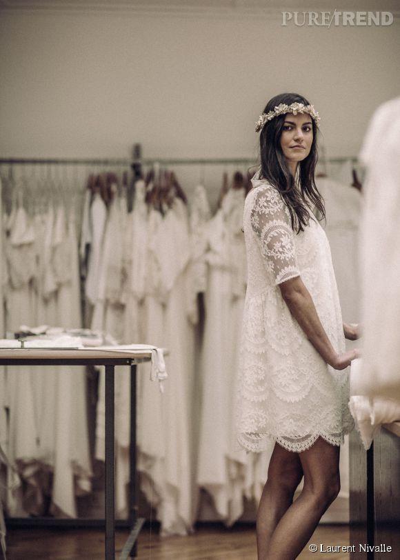 mariage boheme chic robe courte. Black Bedroom Furniture Sets. Home Design Ideas