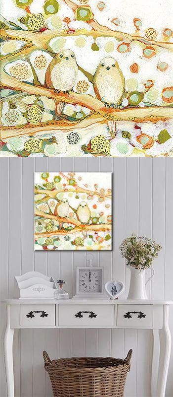 Birds print on canvas, wall decor idea #affiliate #home #art #living ...