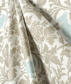Calming Decor Combination Of A Fl Fabric In White Taupe Grey With Light Blue Birds Sewing Diy Interiordesign
