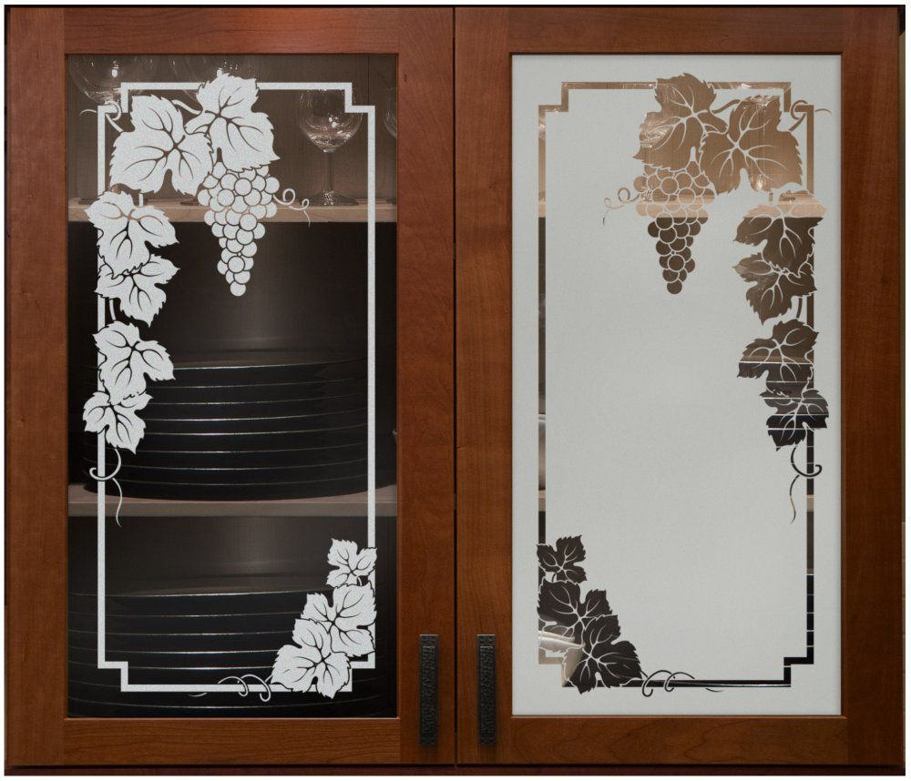 Vineyard grapes cabinet glass sans soucie shown here in for Etched glass doors