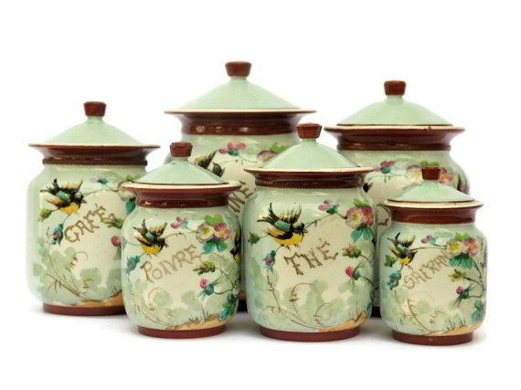 Antique French Porcelain Kitchen Canister Setlebonheurdujour Adorable Kitchen Jar Set Inspiration