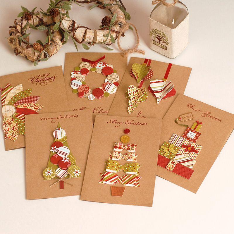 2017 Vintage Paper 3D Chirstmas Greeting Cards Handmade Kraft ...