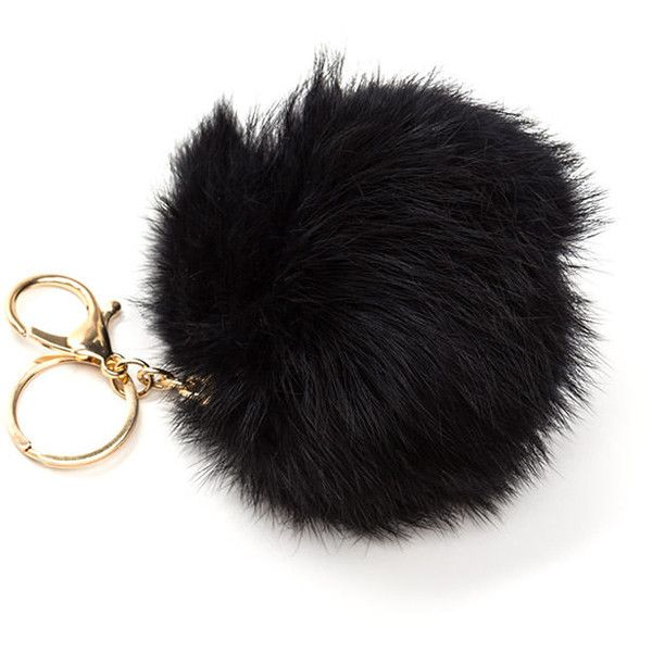 BLACK Fuzz Ball Fur Keychain ( 7.50) found on Polyvore featuring women s  fashion 8b53d0436