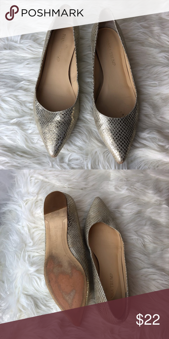 2470dc038bf1 Ivanka Trump gold snake skin flats Gold metallic pointed toe snake skin  flats. Ivanka Trump Has some wear on the bottom but outside shows no  blemishes ...