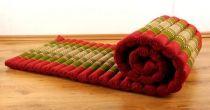 Kapok Rollmatte, Thaimatte, rot / grün