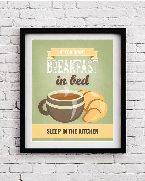 Breakfast Quote Funny Kitchen Decor - Kitchen Print - Kitchen poster ...