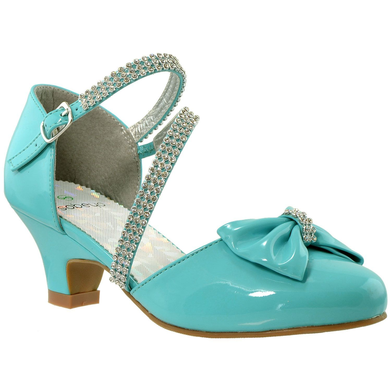 Girls Bow Accent Kitten Heel Pumps Turquoise Girls Dress Shoes Kitten Heel Sandals Kids Dress Shoes