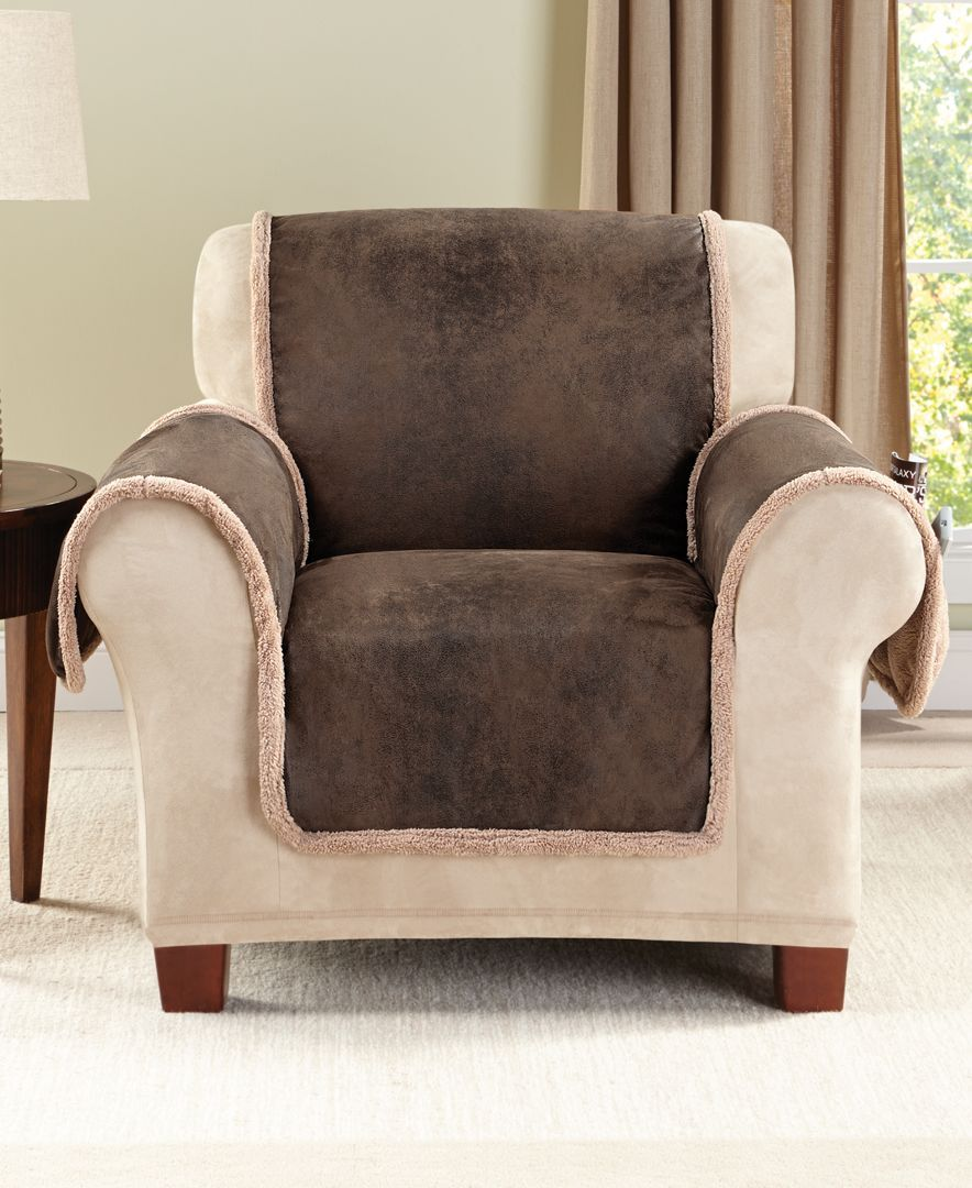 The sure fit vintage faux leather with sherpa pet chair cover features the distressed look of broken in leather on one side and soft plush sherpa on the