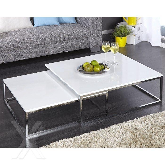 2er Set Couchtisch Design Beistelltisch Tische Hochglanz Weiss Chrom  Quadratisch | Möbel U0026 Wohnen, Möbel