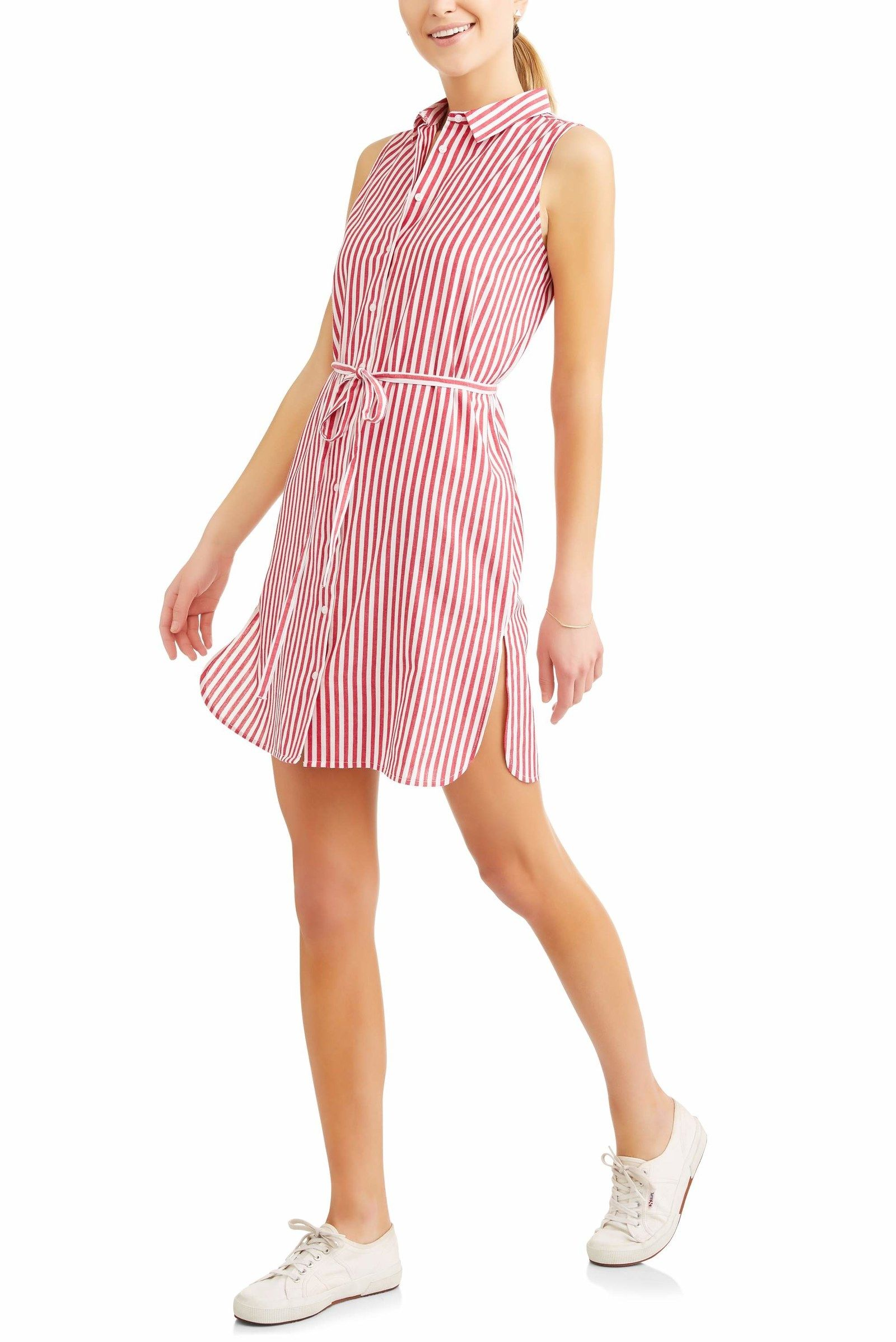 32be895649 ... you spelled cute dresses W-A-L-M-A-R-T  A striped shirtdress that ll  look great alone or even layered over a pair of jeans for that classic  tunic look.