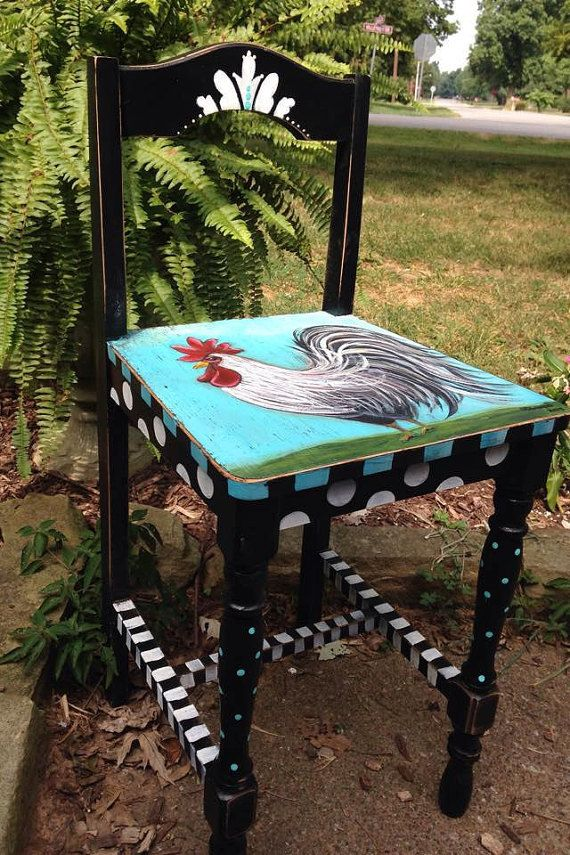 FOR HALLIE french country rooster chair by CottageDesignStudio